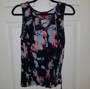 Jennifer Lopez floral wrap sleeveless top